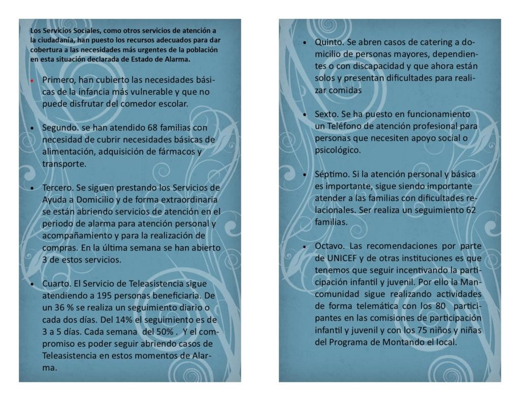 ACCIONES DE SERVICIOS SOCIALES EN ESTADO DE ALARMA